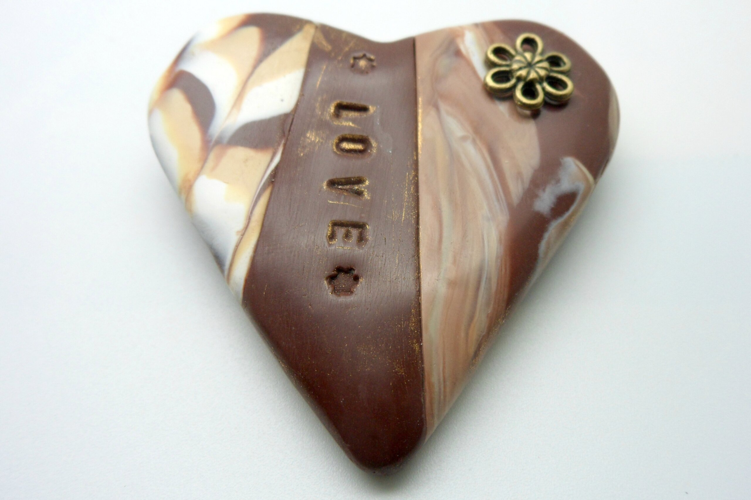Mocha Heart Brooch