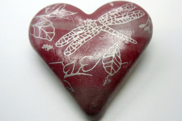 Burgundy Heart Brooch