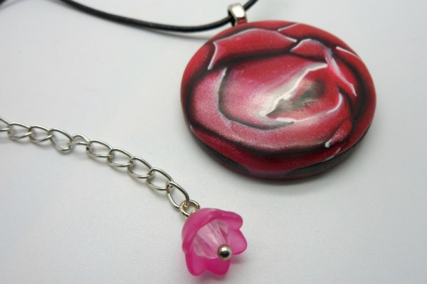 Rose On Leather Necklace