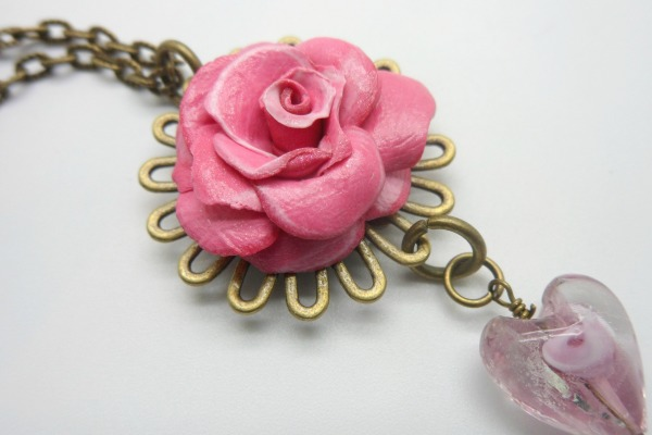Pink Flower Charm Necklace