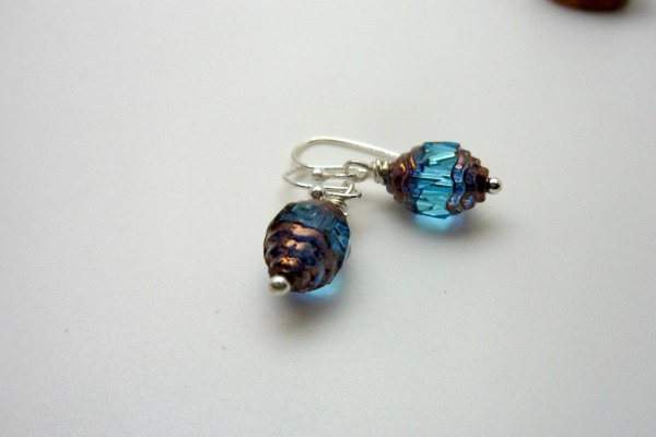 Blue Czech Crystal  Earrings