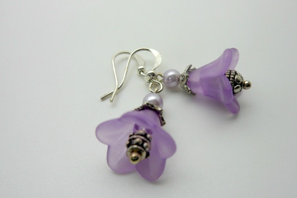 Purple Flower Dangle Earrings