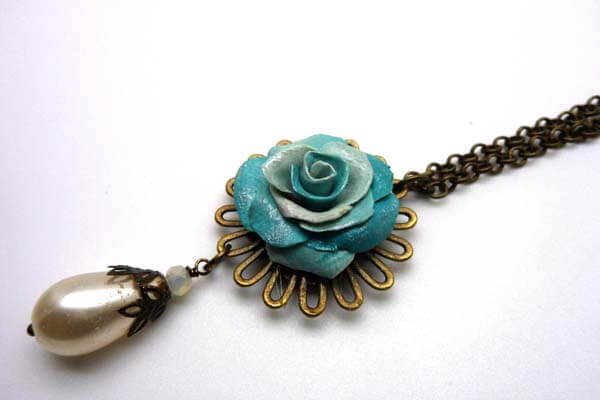 Blue Flower Charm Necklace