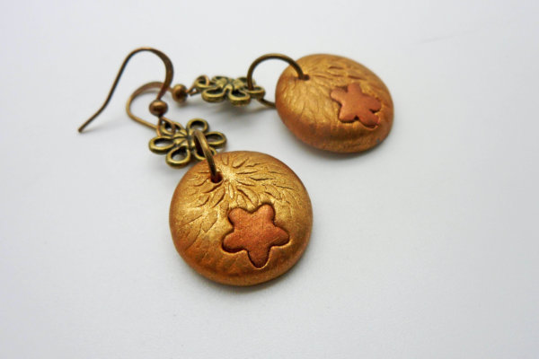 Bronze Flower Dangle Earrings
