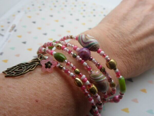 Lime and Pink Wrap Bracelet
